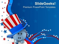 Piggy Wearing Patriotic Hat Americana PowerPoint Templates And PowerPoint Themes 1012