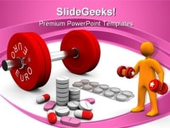 Pills And Dumbbells Health PowerPoint Themes And PowerPoint Slides 0811