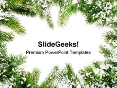 Pine Frame Christmas PowerPoint Background And Template 1210