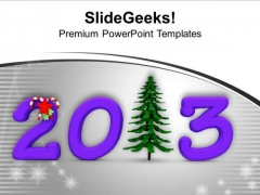 Pine Tree With 2013 Purple New Year PowerPoint Templates Ppt Backgrounds For Slides 0113