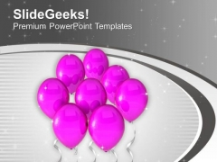 Pink Balloons For Celebration Theme PowerPoint Templates Ppt Backgrounds For Slides 0513