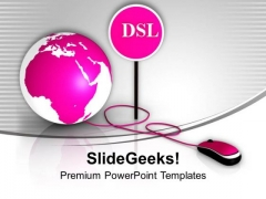 Pink Globe With Mouse Dsl Global Issues PowerPoint Templates Ppt Backgrounds For Slides 0213