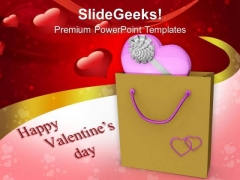 Pink Heart With Shopping Bag Valentines Day PowerPoint Templates Ppt Backgrounds For Slides 0213