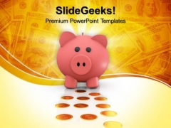 Pink Piggy Bank With Coins Golden PowerPoint Templates And PowerPoint Themes 0912