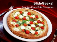 Pizza With Tomatoes And Cheese Food PowerPoint Templates And PowerPoint Backgrounds 0311