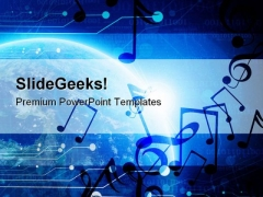 Planet Earth With Notes Music PowerPoint Templates And PowerPoint Backgrounds 0811