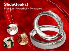 Platinum Wedding Rings On Red Background PowerPoint Templates Ppt Backgrounds For Slides 0113