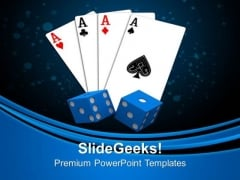 Playing Card With Dices Game Entertainment PowerPoint Templates Ppt Backgrounds For Slides 0213