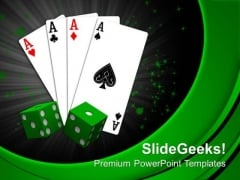 Playing Cards With Dices Business Game PowerPoint Templates Ppt Backgrounds For Slides 0413