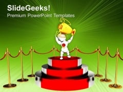 Podium For Winner With Red Carpet Trophy PowerPoint Templates Ppt Backgrounds For Slides 0113