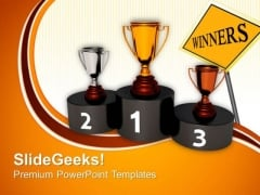 Podium Golden Trophy Challenge Success PowerPoint Templates And PowerPoint Themes 0612