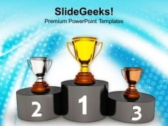 Podium With Golden Silver Trophy Reward PowerPoint Templates Ppt Backgrounds For Slides 0113