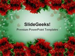 Poinsettias Christmas Garland Background PowerPoint Templates And PowerPoint Backgrounds 0711