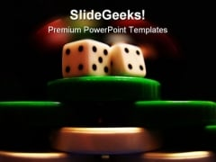 Poker Chips And Dice Game PowerPoint Backgrounds And Templates 1210