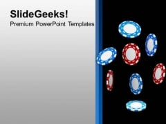 Poker Chips For Casino Theme PowerPoint Templates Ppt Backgrounds For Slides 0413