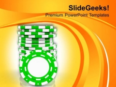 Poker Chips For Casino Theme PowerPoint Templates Ppt Backgrounds For Slides 0513