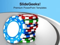 Poker Chips For Royal Casino Theme PowerPoint Templates Ppt Backgrounds For Slides 0513