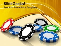 Poker Chips Gambling Theme PowerPoint Templates Ppt Backgrounds For Slides 0413