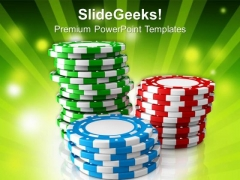 Poker Chips With Casino Theme PowerPoint Templates Ppt Backgrounds For Slides 0313