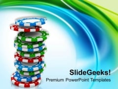Poker Gambling Chips Entertainment PowerPoint Templates Ppt Backgrounds For Slides 0413