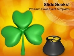 Pot Full Of Gold Coins And Lucky Clover PowerPoint Templates Ppt Backgrounds For Slides 0313