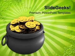 Pot Full Of Gold Coins Treasure PowerPoint Templates Ppt Backgrounds For Slides 0313
