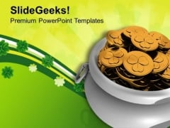 Pot Of Gold Coins Irish Savings PowerPoint Templates Ppt Backgrounds For Slides 0313