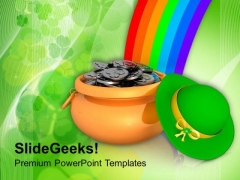 Pot Of Gold Coins With Rainbow Holiday PowerPoint Templates Ppt Backgrounds For Slides 0313
