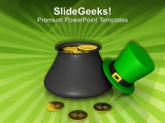 Pot Of Gold For St Patricks Day PowerPoint Templates Ppt Backgrounds For Slides 0213
