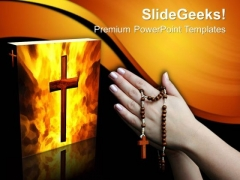 Praying With A Rosary Church PowerPoint Templates And PowerPoint Themes 0712