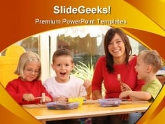 Preschoolers Education PowerPoint Template 1110