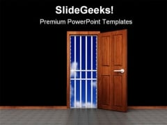 Prison Door Business PowerPoint Themes And PowerPoint Slides 0711