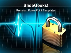 Pulse With Lock Security PowerPoint Backgrounds And Templates 0111