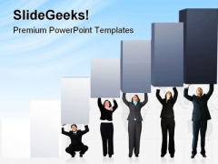 Pushing Graph Up Business PowerPoint Themes And PowerPoint Slides 0811