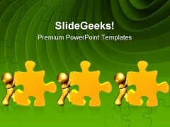 Pushing Puzzle Piece Solution Business PowerPoint Themes And PowerPoint Slides 0711
