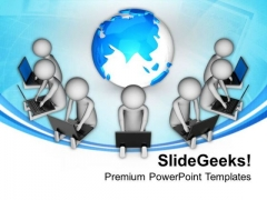 Put Global Connection For Team Benifit PowerPoint Templates Ppt Backgrounds For Slides 0713