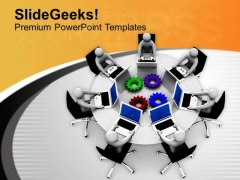 Put Right Gears For Communication PowerPoint Templates Ppt Backgrounds For Slides 0713