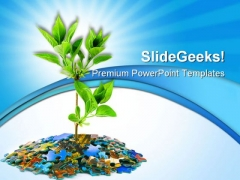 Puzzle And Plant Business PowerPoint Themes And PowerPoint Slides 0511