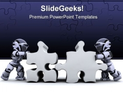 Puzzle Connected Business PowerPoint Template 0810