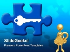 Puzzle Key Security PowerPoint Backgrounds And Templates 1210
