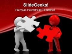 Puzzle Team People PowerPoint Template 0810