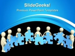 Puzzle Team People PowerPoint Templates And PowerPoint Backgrounds 0511