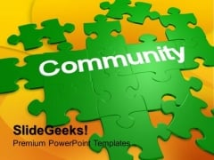 Puzzle With The Word Community Design PowerPoint Templates And PowerPoint Themes 1012