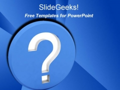Question PPT Template with Blue Background