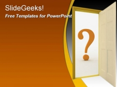 Question door PowerPoint Template