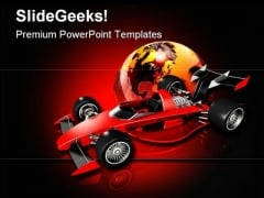 Race Car And Globe Sports PowerPoint Themes And PowerPoint Slides 0811