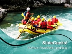 Rafting Vacation PowerPoint Themes And PowerPoint Slides 0511