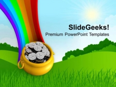 Rainbow And Pot Full Of Coins Wealth PowerPoint Templates Ppt Backgrounds For Slides 0313