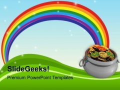 Rainbow And Pot Of Gold Coins Holiday PowerPoint Templates Ppt Backgrounds For Slides 0313