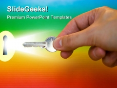 Rainbow Key Security PowerPoint Templates And PowerPoint Backgrounds 0211